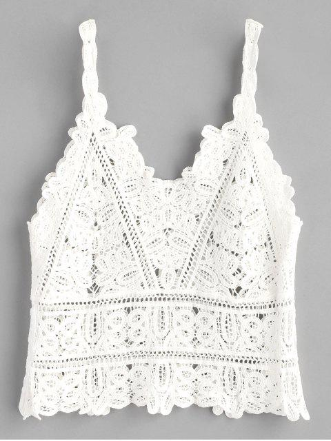womens Crochet Tank Top - WHITE ONE SIZE Mobile