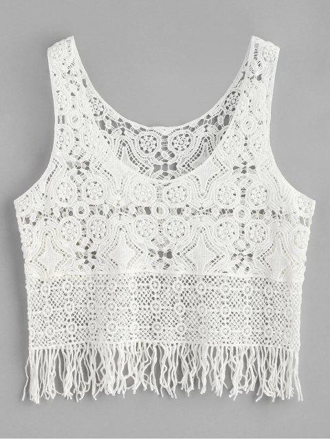 ladies Fringe Crochet Tank Top - WHITE ONE SIZE Mobile