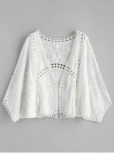 lady Hollow Out Embroidered Kimono - WHITE ONE SIZE Mobile