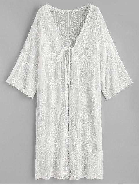 Kimono escarpado bordado atado a sí mismo - Blanco Única Talla Mobile