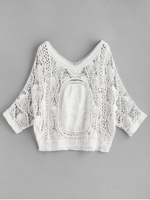 Batwing Crochet Top - Blanco Única Talla Mobile