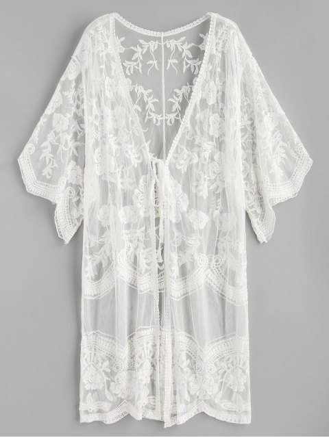 trendy Tie Floral Embroidered Sheer Kimono - WHITE ONE SIZE Mobile