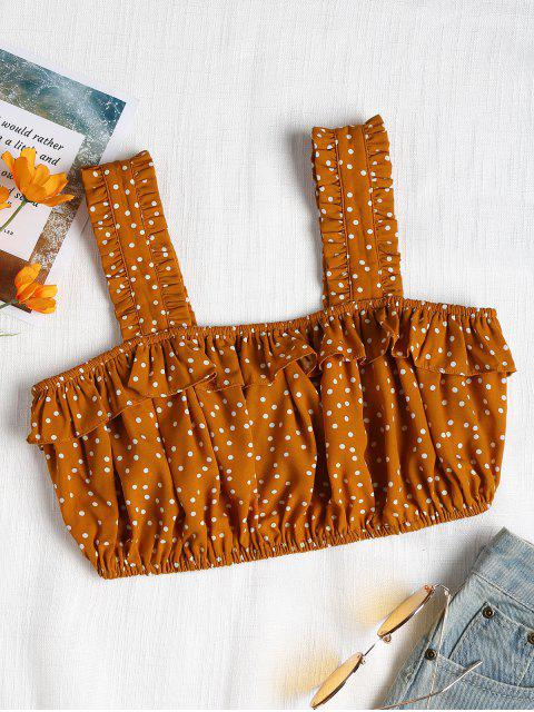 women's Ruffles Polka Dot Tank Top - ORANGE GOLD L Mobile