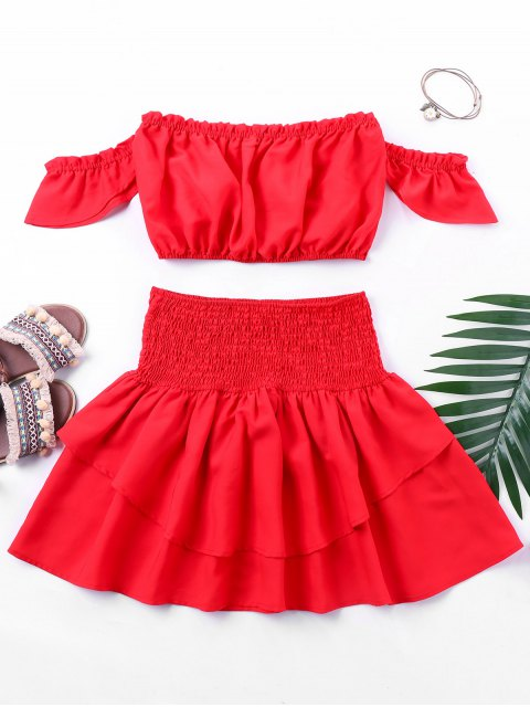 latest Flounced Top with Smocked Skirt - RED XL Mobile