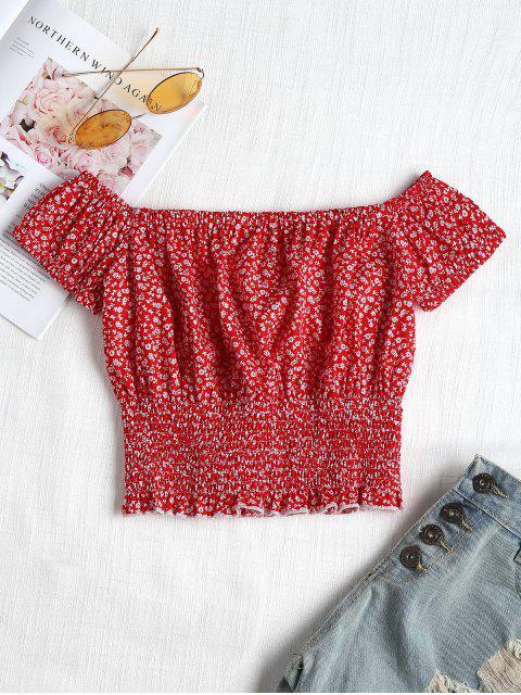 Blusa de estampado de flores smocked - Rojo L Mobile