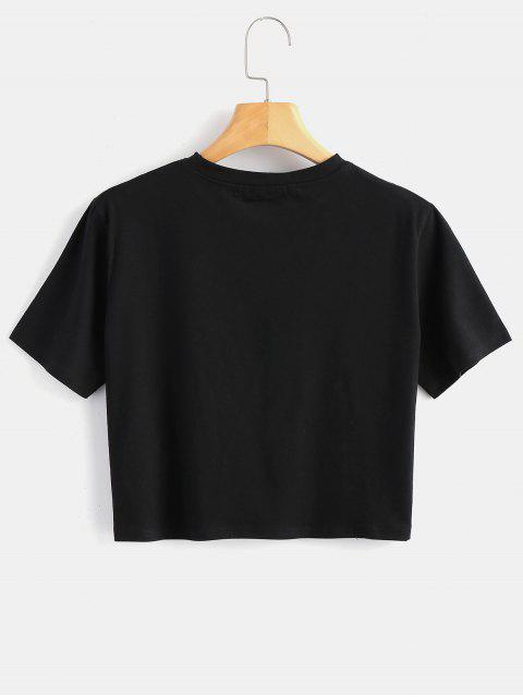chic Graphic Cropped Top - BLACK S Mobile