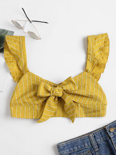 Knotted Ruffle Strap Bralette Crop Top - Harvest Yellow M