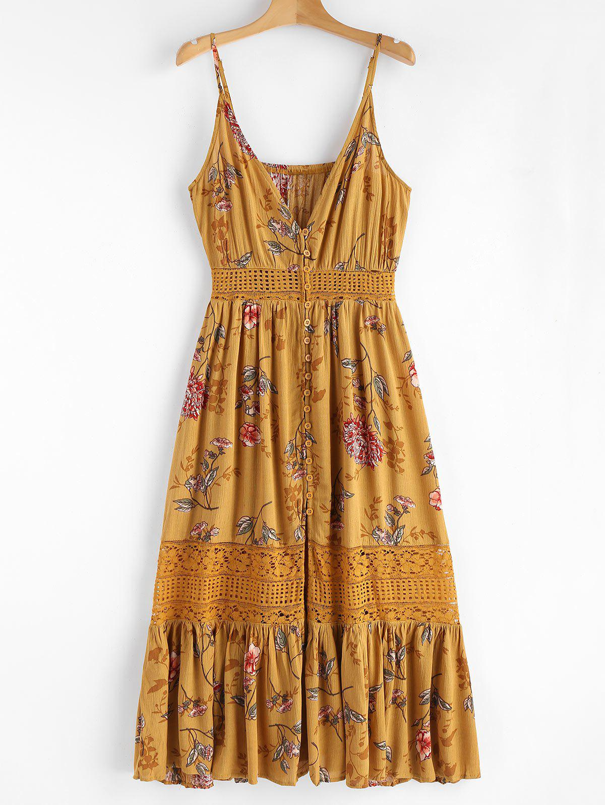Floral Lace Panel Midi Dress 261050101