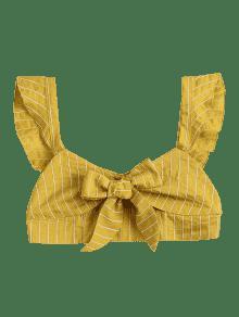 Anudados M Tirantes Amarillo Y De Volantes De Top Bralette Con Volantes EqPOg5v