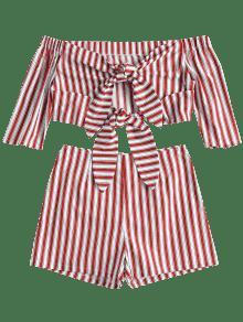 Tinto Pantalones A Con Descubiertos Cortos Top S Vino Hombros Rayas Y Conjunto De T5Pqx5w6