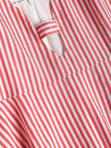 Vestido Rojo S A Camisero Rayas Frijol YRYHBgn