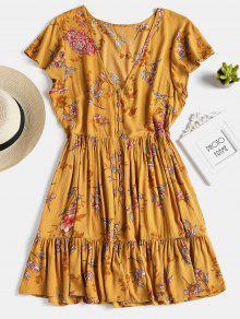 فستان توهج زر كشكش - بني ذهبي L