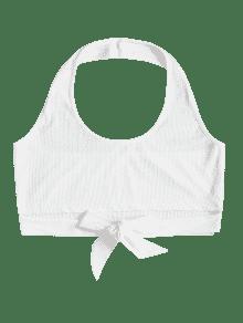 Cuello Camiseta Halter Con Mangas Blanco Anudada S Sin 4wwqIW7v