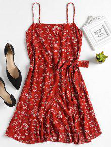فستان طباعة الأزهار كشكش مصغر - جريب فروت L