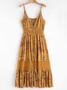 فستان ميدي طباعة الأزهار دانتيل - الذهب البرتقالي S