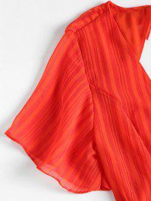 Naranja Mini Espalda Volantes Impactante Vestido Abierta S PpIpgw6Wq