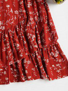 Cereza Un Volantes M L De Vestido Florales Rojo Anudados 237;nea qOw8FfxR