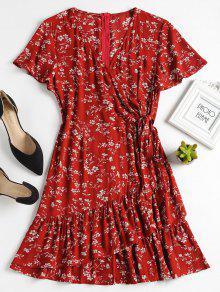 فستان توهج طباعة الأزهار كشكش - الكرز الاحمر L