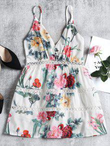 Floral Eyelet Shirred Panel Mini Dress