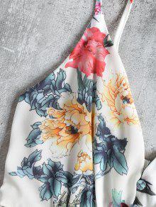 Blanco L Floral Ojete Fruncido Minivestido Con 7WP8qIxwRz