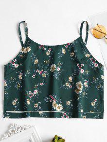 توب سترة طباعة الأزهار حزام السباغيتي - متوسطة غابة خضراء