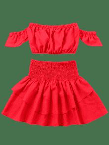 Desgastada Rojo Falda Y Con Top Volantes S wqXIEC