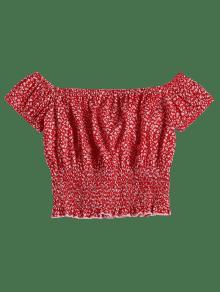 Rojo De De M Estampado Flores Blusa Smocked dwEpqXxEF