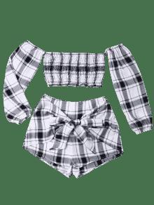 Set Y Tartan Plaid Gris Top Crop M Shorts Y Blanco Xx7Rvaq