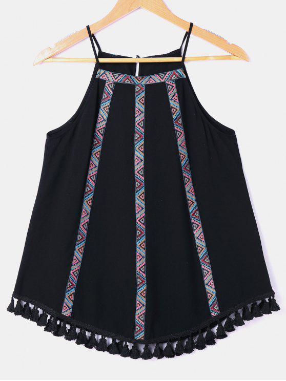 Tassel Zigzag cuello babero sin mangas - Negro S