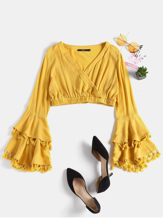 outfits Tiered Sleeve Plunge Blouse - YELLOW M