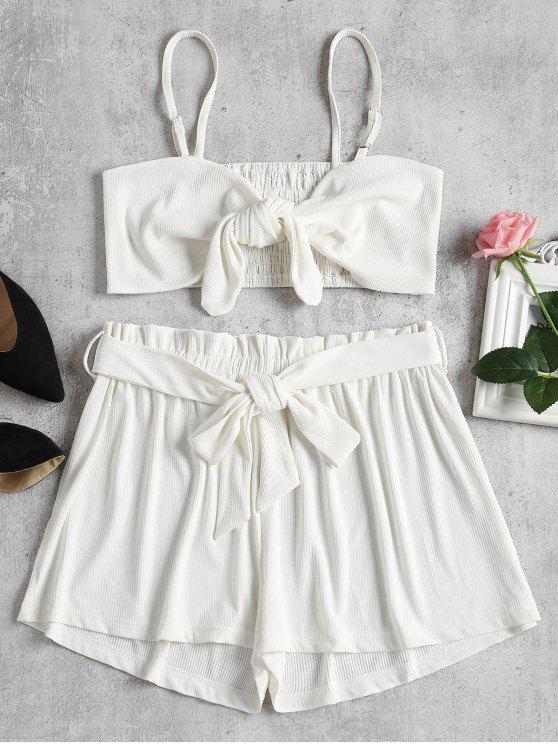 Smocked Back Tie Front Set - أبيض L