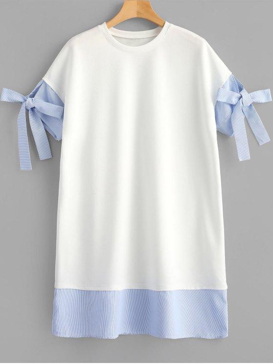 Vestido recto a rayas - Blanco L