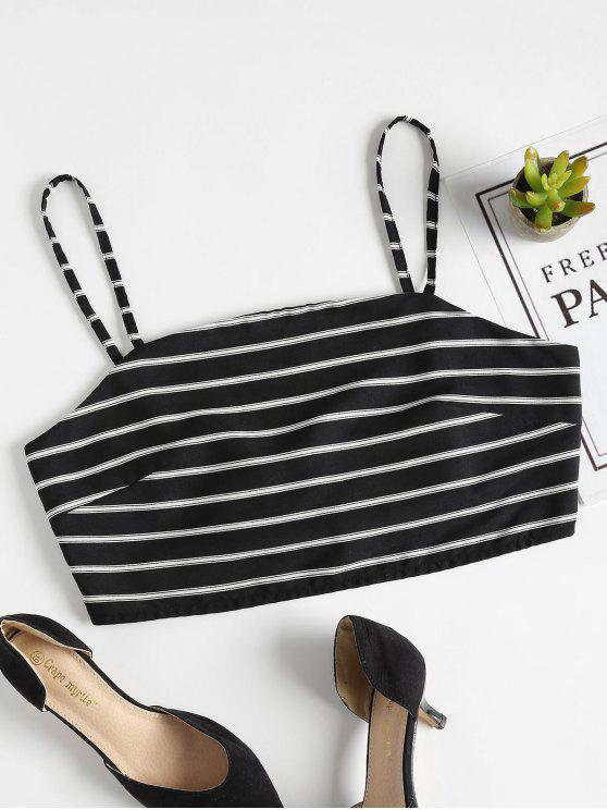 ladies Tied Back Stripes Tank Top - BLACK L