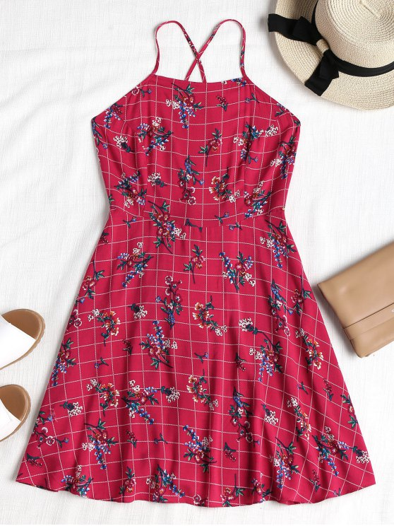 فستان طباعة الأزهار منقوش عارية الظهر - وردة حمراء L