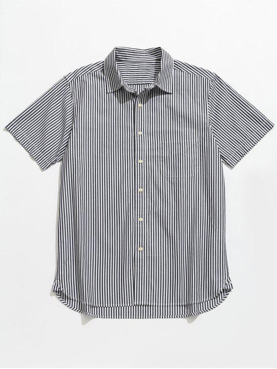 Gestreiftes kurzen Ärmeln Knopf Oben Shirt - Schwarz L