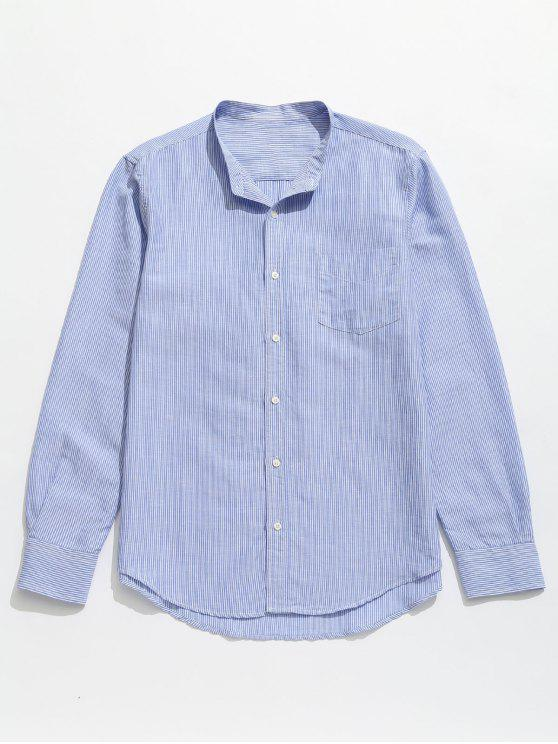 women Striped Pocket Button Up Shirt - BABY BLUE M