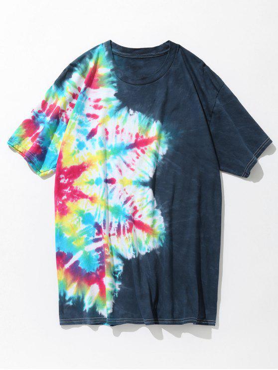 T-shirt de algodão colorido Tie Dye - Azul Verde 3XL
