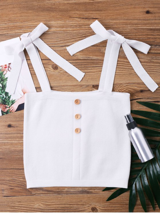 outfits Sleeveless Petite Knot Crop Top - WHITE ONE SIZE