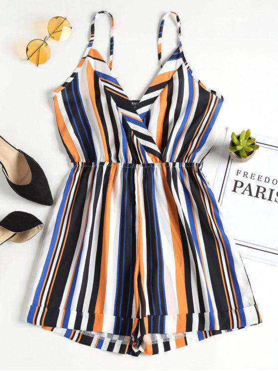 Cami Surplice Striped Romper - Multi L