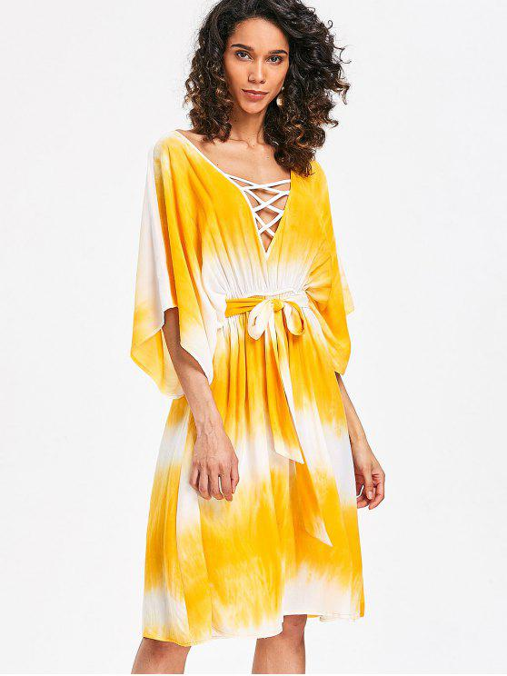 outfit Lattice Low Cut Casual Dress - YELLOW S