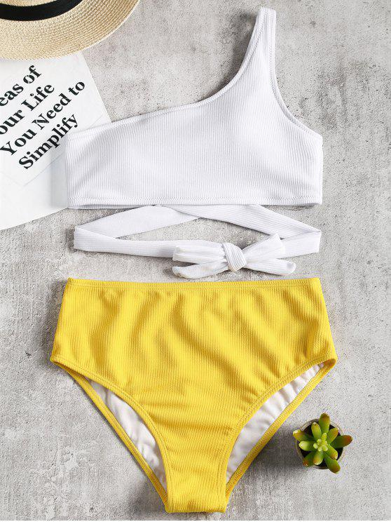 Eine Schulter Zweifarbiger Bikini - Gelb S