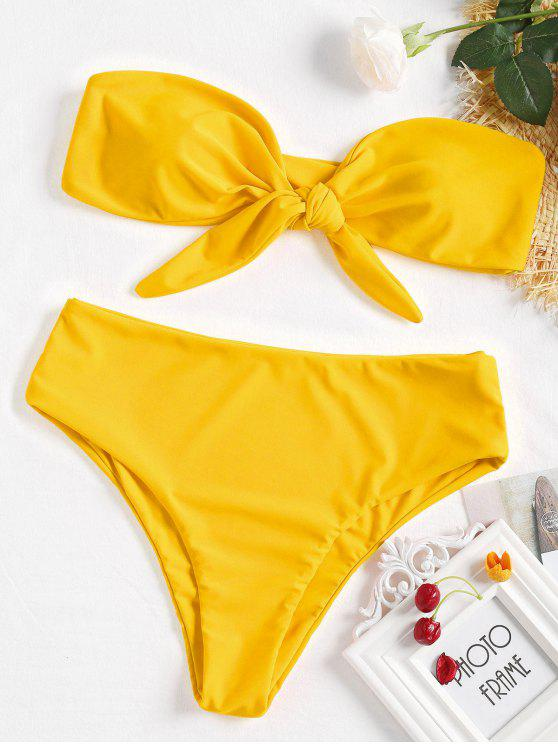 unique Tie-front Bandeau Bikini Set - RUBBER DUCKY YELLOW S