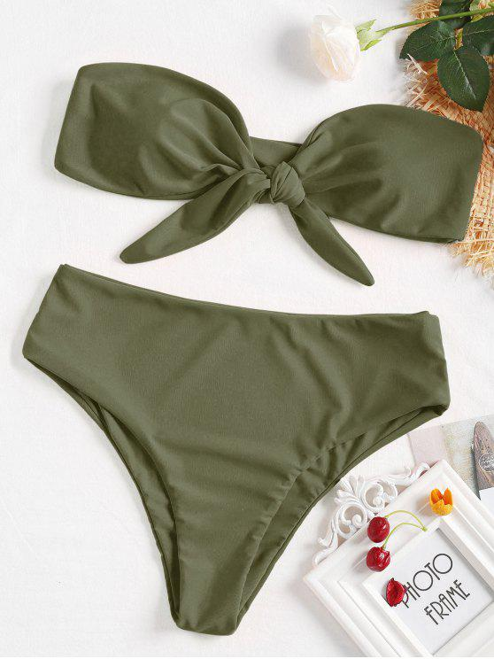 Vorne Schnürung Bandeau-Bikini-Set - Tarnanstrich Grün S
