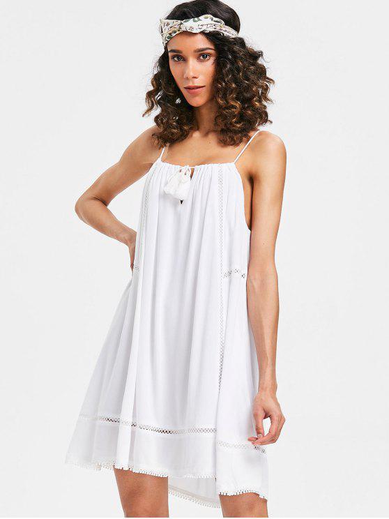 Vestido slip de panel de ganchillo - Blanco L