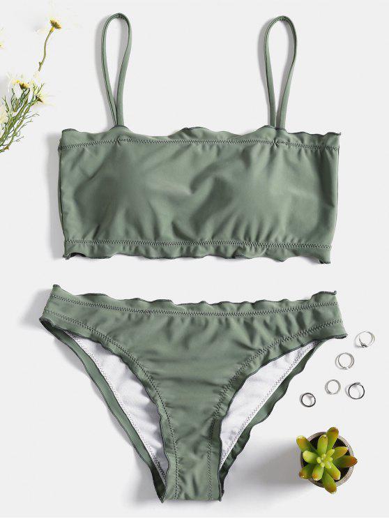 fashion Lettuce Trim Cami Bikini Set - FROG GREEN S