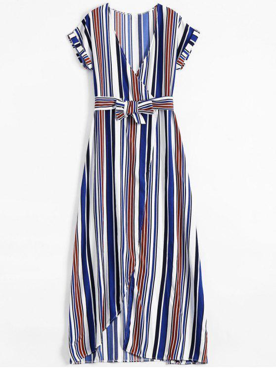 Robe Maxi Cache-Coeur Rayée à Fente Élevée - Bleu S