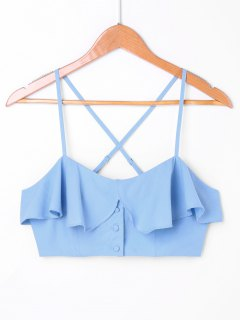 Overlay Frill Cropped Cami Top - Blue L