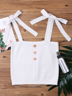 Sleeveless Petite Knot Crop Top - White