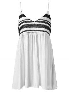 Smocked Mini Cami Dress - White L