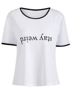 T-shirt Imprimé à Col Rond - Blanc S